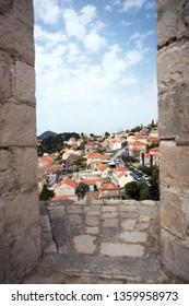 View through window wall back ground blue sky
