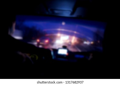 View through the windshield of the car, defocused