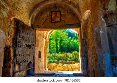 View thru the door at Gelati monastery, Kutaisi, Georgia