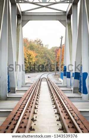 view thru truss metal railway bridge, viaduct with track