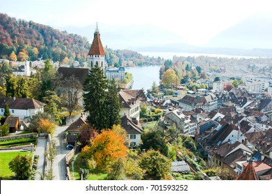 View of Thun Lake and Alps from the Top of Thun Castle in Autumn, Switzerland