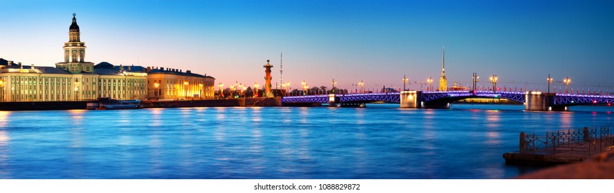 View ti Saint Peterburg at night. City panorama after sunset with beautiful illumination