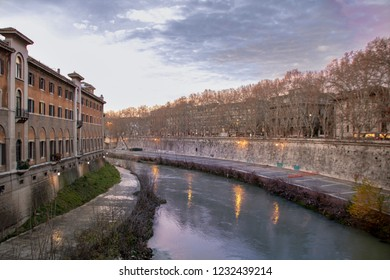 View of Tiber riverside and cityscape of Rome, Italy