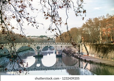 View of Tiber riverside and Ponte Sisto  cityscape of Rome, Italy