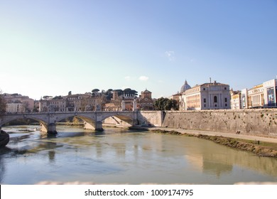 View of Tiber and Sant'Angelo bridge in Rome, Italy