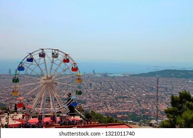 View from tibidabo in spanish Barselona