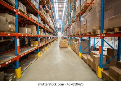 View of tidy cardboard box in a warehouse