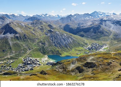 View of Tignes, Tignes lake and Val d'Iisere, Vanoise national park, France