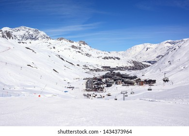 View of Tignes village in French Alps