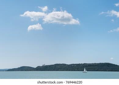 View of Tihany and Lake Balaton from Balatonfured, Hungary