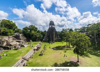 View of Tikal pyramid, Flores, Guatemala