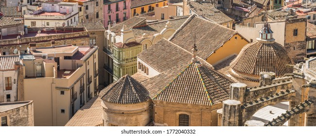 View of the tiled roofs of buildings, Tortosa, Catalonia, Tarragona, Spain. Top view