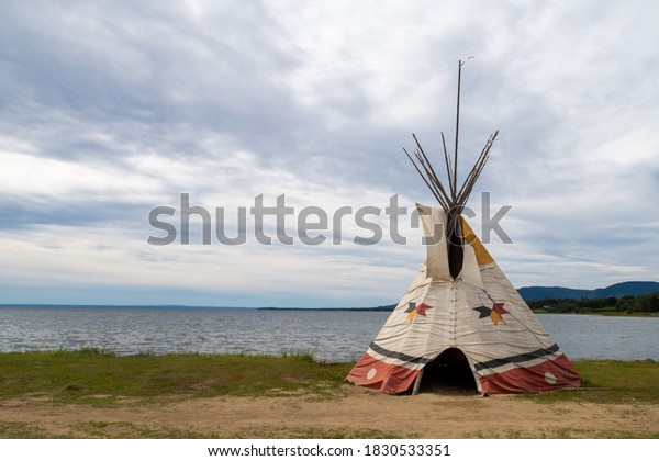 View of a tipi by the sea, in Gesgapegiag, an indian reserve located in Canada