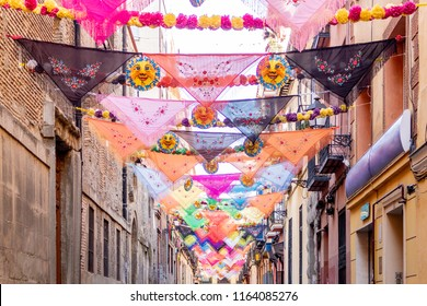 View of tipical madrid tissues in preparation for a neighbourhood party.