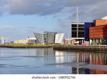 View of Titanic Belfast and River Lagan. Belfast, Northern Ireland