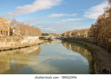 View of Tober riverside and cityscape of Rome, Italy