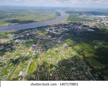 View of Tobolsk from a quadrocopter, podgorny part and the Kremlin