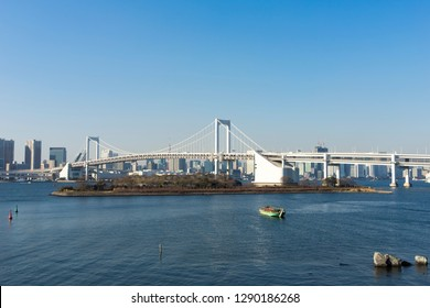 view of Tokyo Bay area from Odaiba beach park
