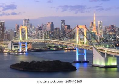 View of Tokyo Bay, Rainbow Bridge, and Tokyo Tower
