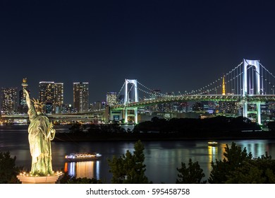 View of tokyo city and rainbow bridge from odaiba at twilight time,Japan