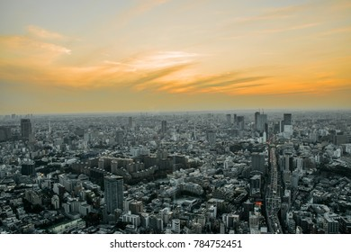 View of Tokyo city from Roppongi Hills Mori Tower in the twilight with gold light from the sunset