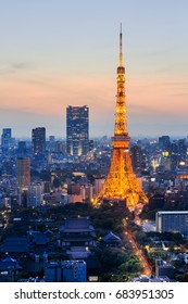 View of Tokyo city skyline and tokyo tower at dusk time,Japan