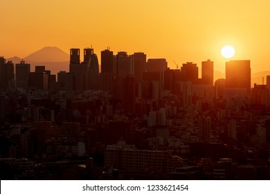 view of tokyo sky twilight with MT.fuji sunset