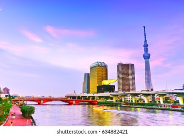 View of the Tokyo skyline along the river at dusk.