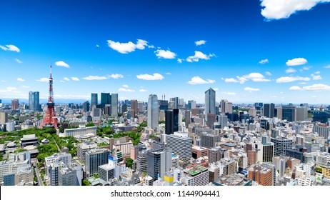 View of Tokyo Skyline, Tokyo, Japan.