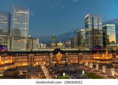 View of Tokyo station building at twilight time. Marunouchi business district, Tokyo, Japan.