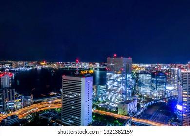 View of Tokyo's cityscape around Shiodome.