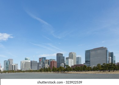 View of Tokyo's office district with skyscrapers from the imperial palace