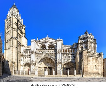 View of Toledo Cathedral in sunny day, Spain.