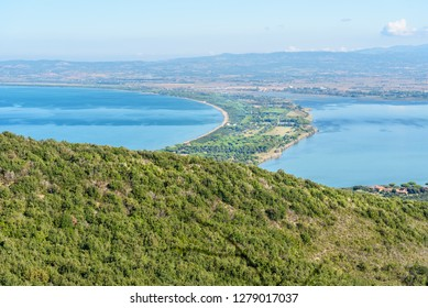 View of Tombolo della Giannella in lagoon Orbetello on peninsula Argentario in Tuscany. Italy
