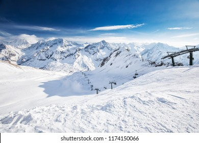 View of Tonale ski resort with Rhaetian Alps, Tonale pass, Italy, Europe.