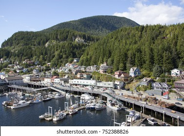 The view of Tongass Avenue and a marina in Ketchikan town (Alaska).