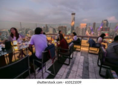 View from the top of Bangkok Building rooftop bar & restaurant , Blurred Photo