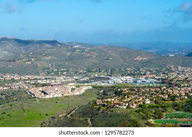 View from the top of the Black Mountain of Carmel Valley with suburban neighborhood with identical villas next to each other. San Diego, California, USA.