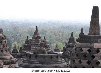 view from the top of borobudur temple across the jungle below in yogyakarta java indonesia