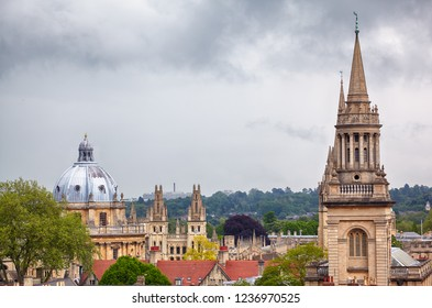 The view from the top of Carfax Tower the main Oxford landmarks: the All Saints Church (Lincoln College's library) and the Radcliffe camera dome. Oxford University. England