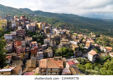 View from the top of Castiglione di Sicilia, a village not far from Taormina in the valley of Alcantara river, Sicily. In 2017 Castiglione was voted one of the 5 most beautiful villages in Italy