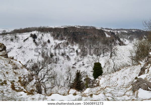 View from the top of Cheddar gorge in Somerset on a snowy day