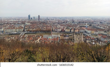 View from the top of the city of Lyon, France