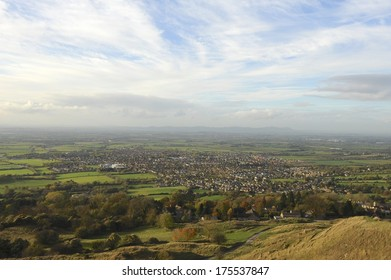 View from the top of Cleeve Hill in the Cotswolds towards the town of Bishops Cleeve