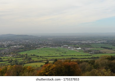 View from the top of Cleeve Hill in the Cotswolds towards the town of Cheltenham and its horse race course in Gloucestershire