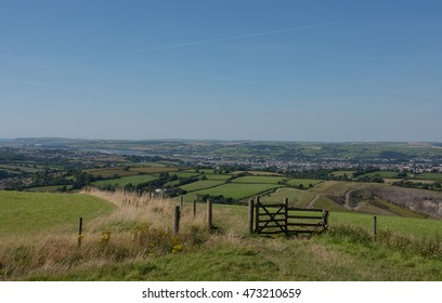 View From the Top of Codden Hill Overlooking the Town of Barnstaple, the Taw and Torridge Estuary with the Fullabrook Wind Farm in the Background on the Coast in North Devon, England, UK