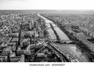View from the top deck of Eiffel Tower over the big city of Paris