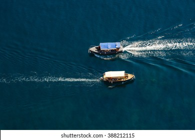 View from the top down by two passenger ship passing by, Black Sea, Crimea