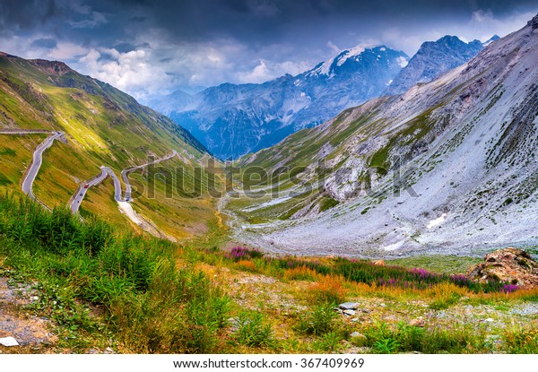 View from the top of famous Italian Stelvio High Alpine Road, elevation of 2,757 m above sea level. Stelvio Pass, South Tyrol,  province of Sondrio, Ortler Alps, Italy, Europe.