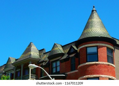 View of top floor and rooftops of rowhouses in Reservoir Hill  (Baltimore, MD).